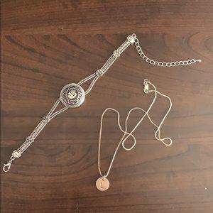 "Silver ""L"" monogram jewelry - necklace + bracelet"